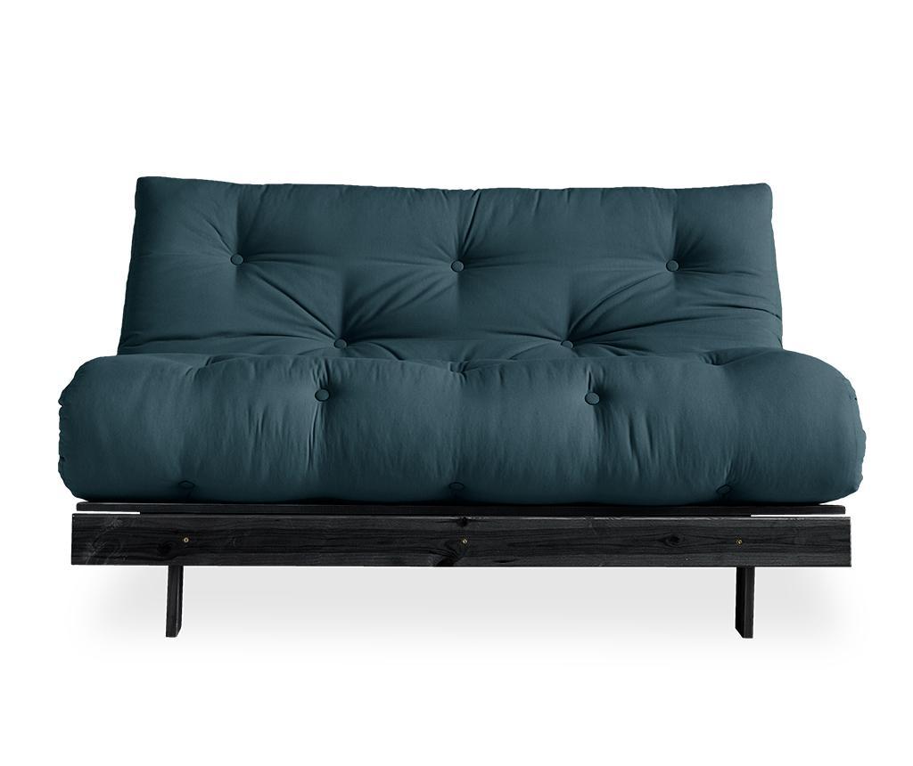 Sofa extensibila Roots Black & Petrol Blue 140x200 cm