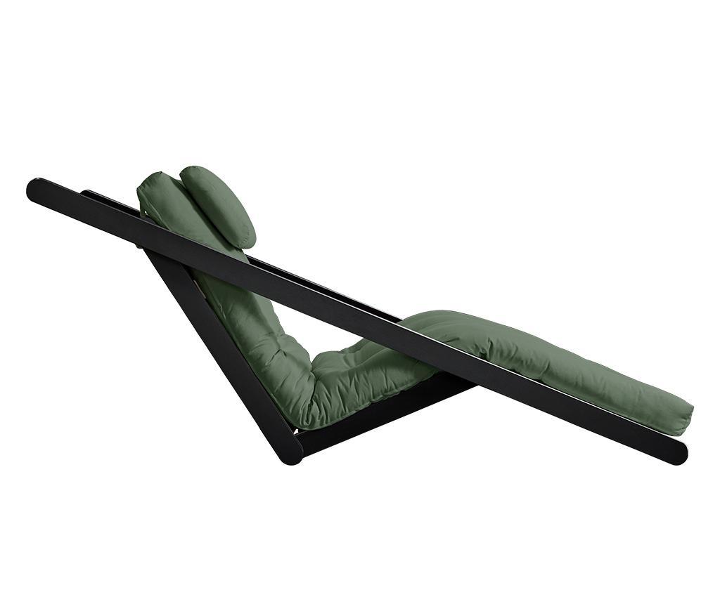 Raztegljiv počivalnik za dnevno sobo Figo Black & Olive Green 70x200 cm