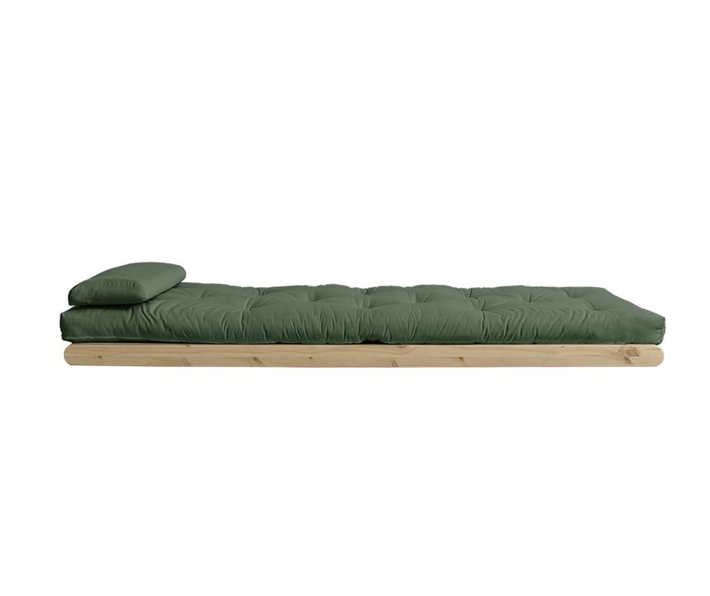 Figo Natural & Olive Green Kihúzható nappali heverő 120x200 cm