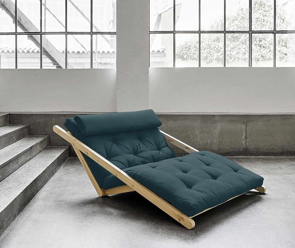 Figo Natural & Petrol Blue Kihúzható nappali heverő 120x200 cm