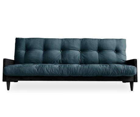 Sofa extensibila Indie Black & Petrol Blue 130x190 cm