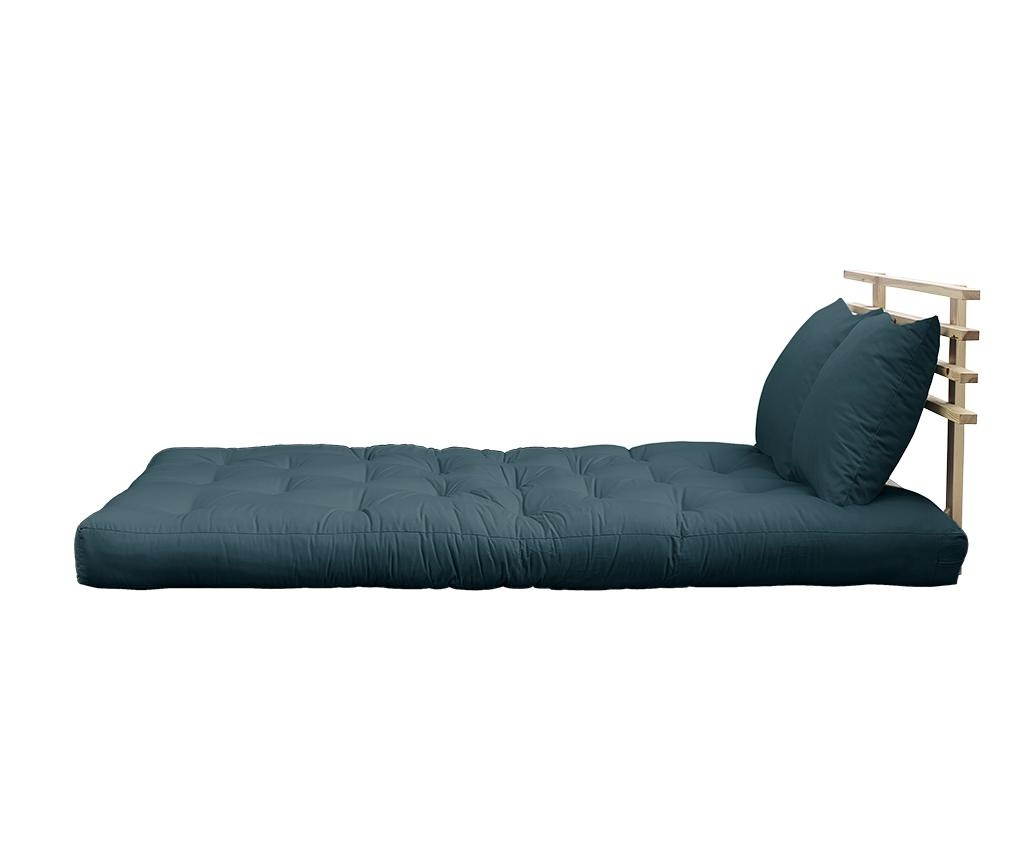 Kauč na razvlačenje Shin Sano Natural & Petrol Blue 140x200 cm