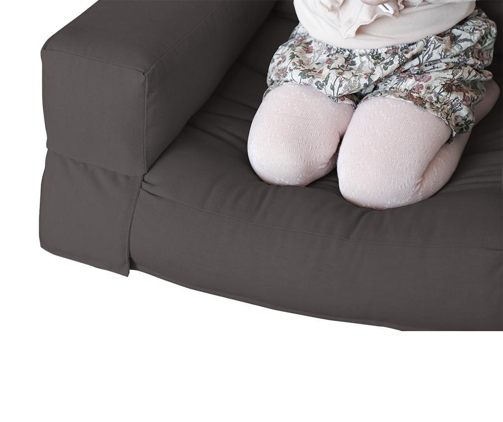 Raztegljiv otroški naslanjač Mini Hippo Grey 65x140 cm