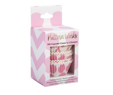 Set 100 košaric za mafine Pattern Works Pink