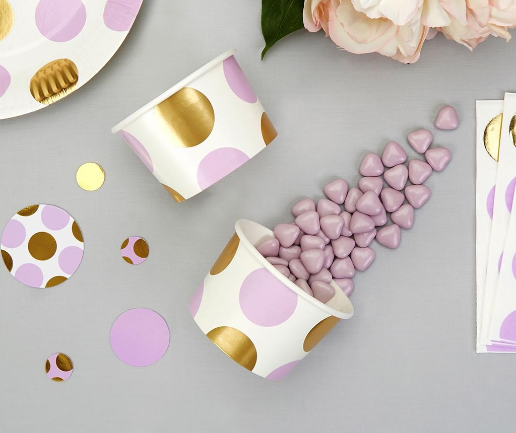Set 8 zdjela za jednokratnu upotrebu Pattern Works Lilac Dots