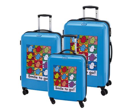 Set 3 kovčkov na kolesih Sheepworld Blue