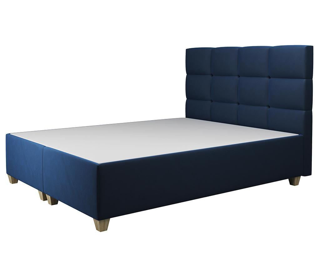 Postelja z dvižno oporo ležišča Italia Dark Blue 140x200 cm
