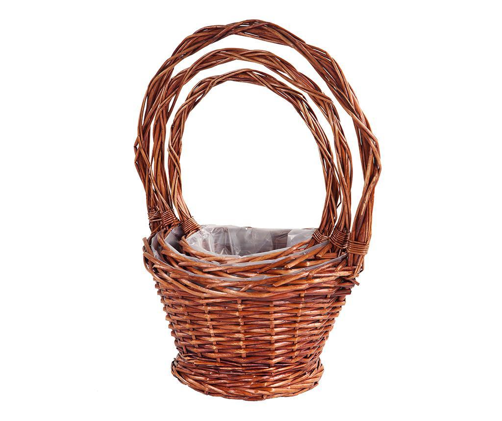 Sada 3 květináčů Rustic Baskets