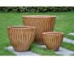Set 3 suporturi pentru ghiveci Bamboo Brown