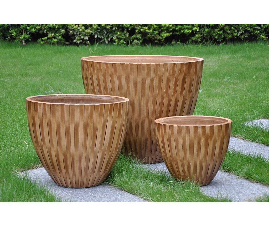 Sada 3 obalů na květináče Bamboo Brown
