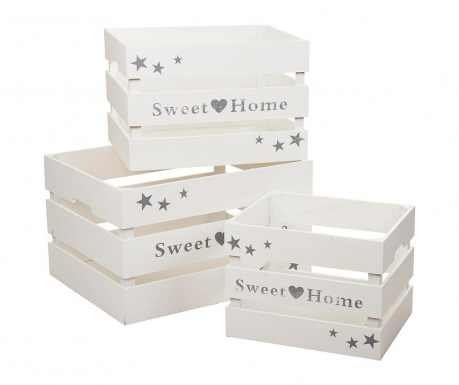Set 3 sanduka za spremanje Sweet Home White