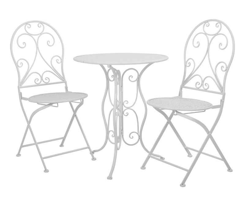 Set - vrtna miza in 2 vrtna stola Classic Pattern White