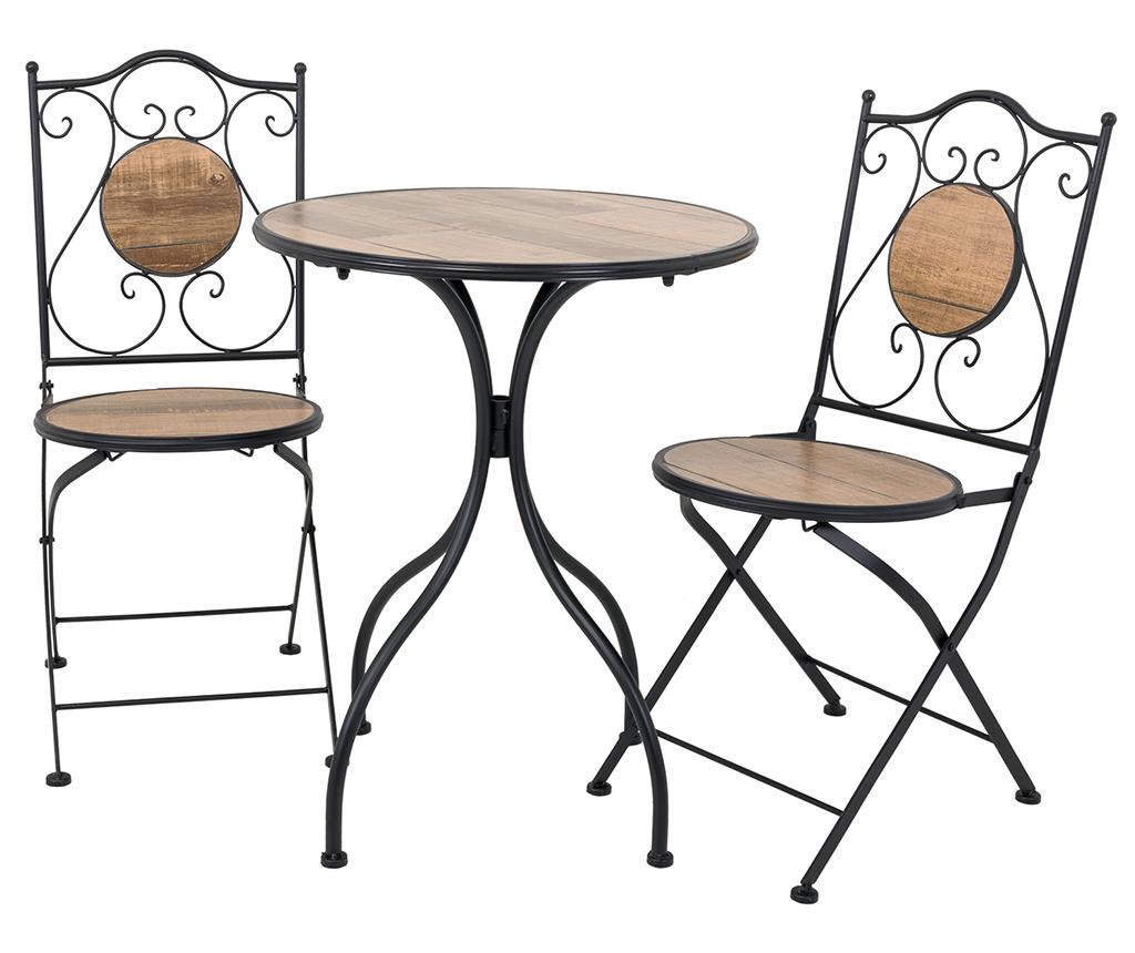 Wood Pattern Kültéri asztal és 2 db szék