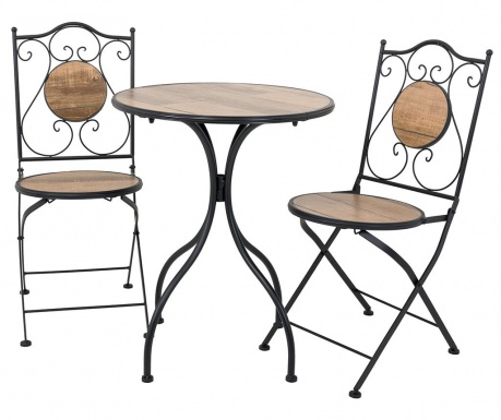 Комплект маса и 2 стола за екстериор Wood Pattern
