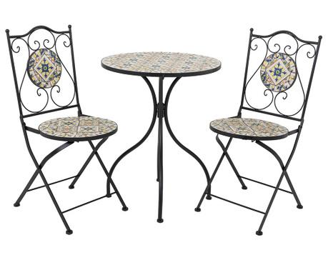 Set - vrtna miza in 2 vrtna stola Mosaic Tile Rhombus