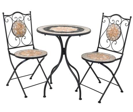 Комплект маса и 2 стола за екстериор Mosaic Flower Geometric