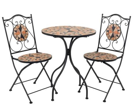 Set - vrtna miza in 2 vrtna stola Mosaic Sunflower