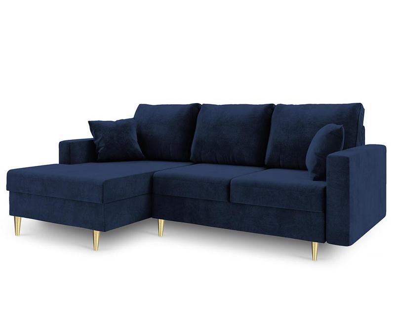 Разтегателен ляв ъглов диван Muguet Royal Blue
