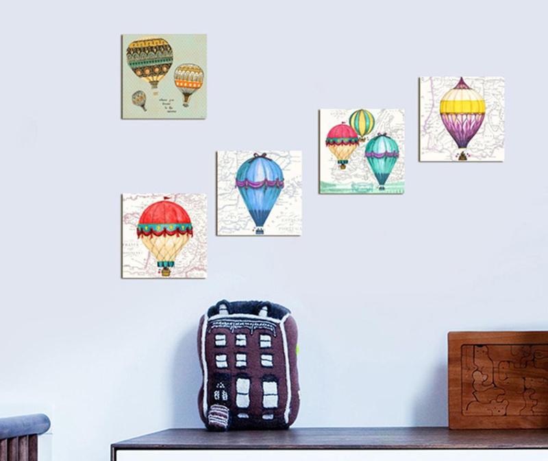 Set 5 slika Hot Air Balloons 15x15 cm