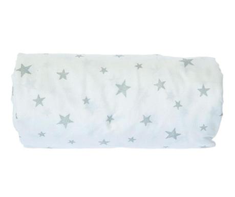 Cearsaf de patut cu elastic Stars Grey 70x132 cm