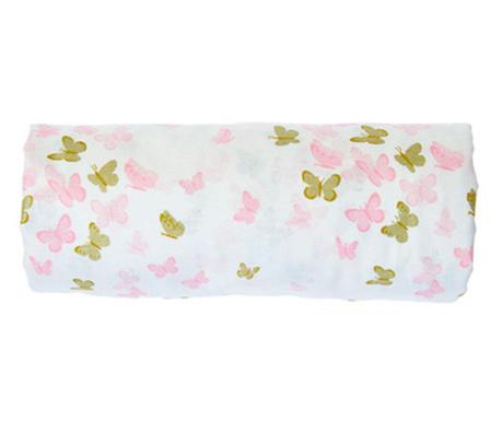 Cearsaf de patut cu elastic Butterfly Pink 70x132 cm