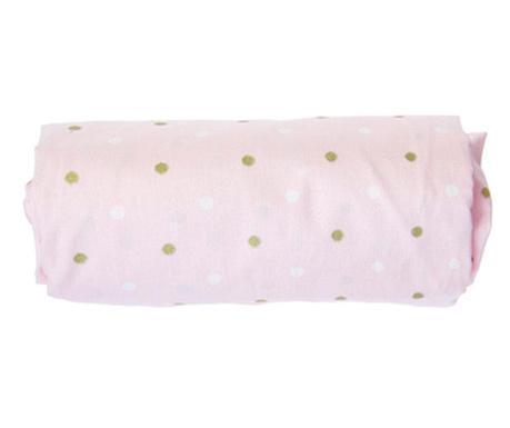 Cearsaf de patut cu elastic Dots Pink 70x132 cm