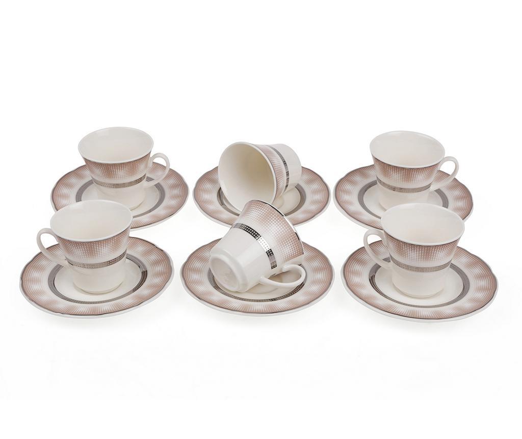 Sada 6 šálků a 6 podšálků Espresso Gradinet Silver