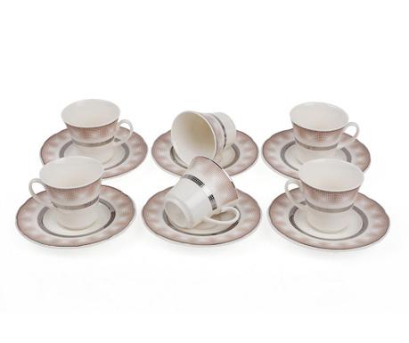 Set 6 cesti si 6 farfurioare Espresso Gradinet Silver