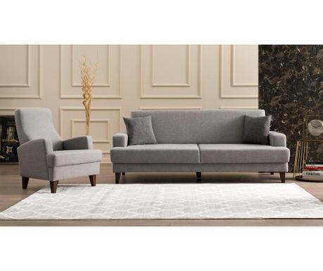Set canapea extensibila 3 locuri si fotoliu Kana Light Grey