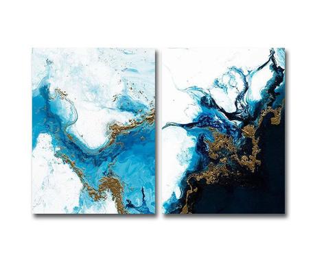 Set 2 tablouri Blue Marble 28x38 cm