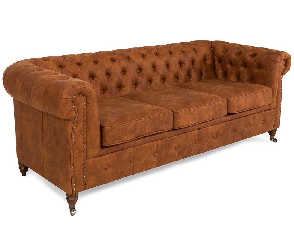 Kauč trosjed Chesterfield Vintage Cognac