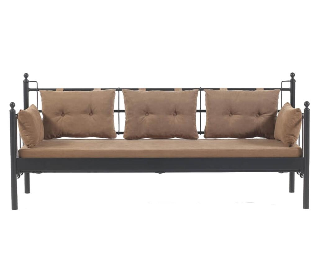 Canapea 3 locuri pentru exterior Lalas Black and Brown
