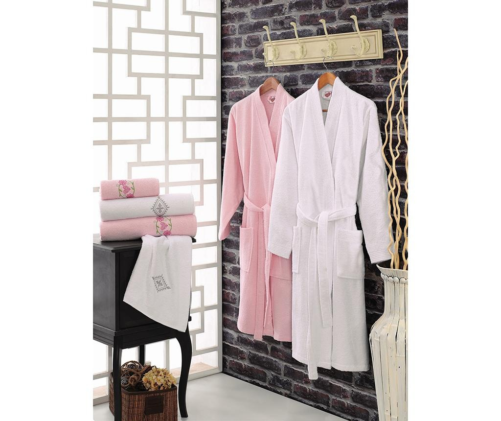 6-dijelni set kupaonskih tekstila His and Hers White and Pink