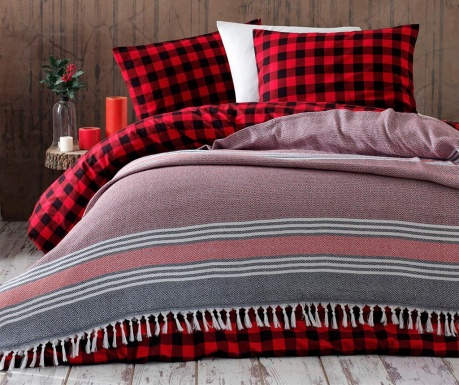 Anna Yatak Red & Black Pique ágytakaró 220x240 cm