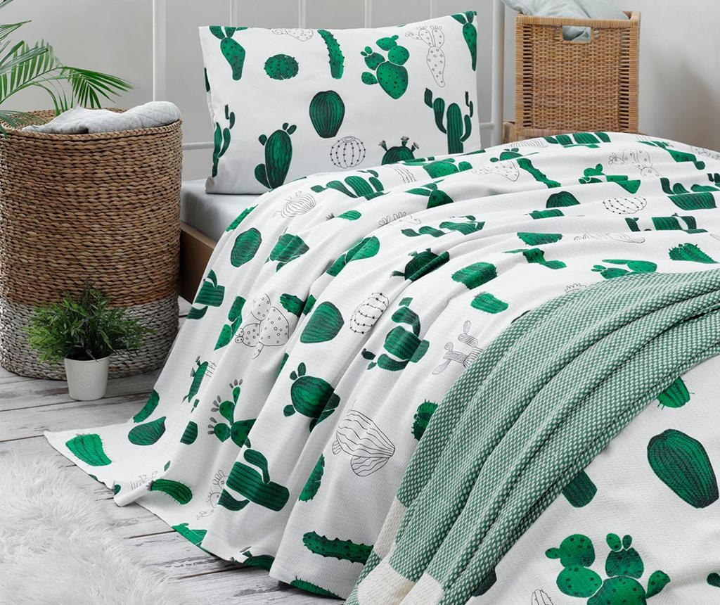 Lenjerie de pat Single Pique Kaktus Green