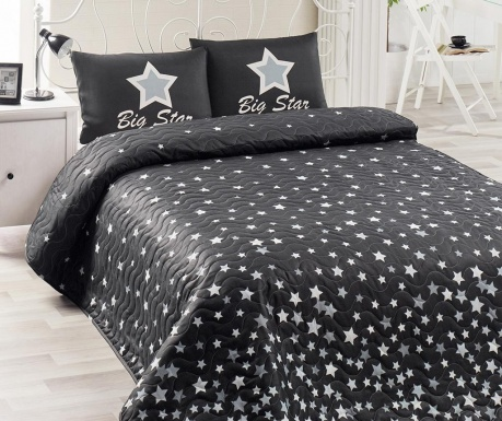 Set s prešitim posteljnim pregrinjalom Double Whitestar Black