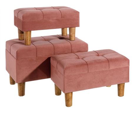 Zestaw 3 stołków Style Pink