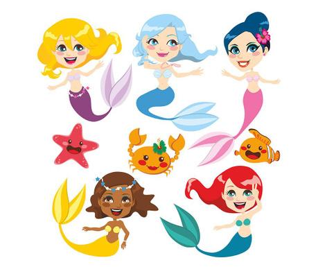 Sada 8 samolepiek Mermaids