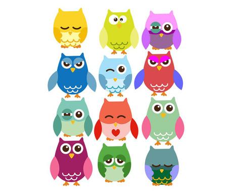 Set 12 nalepk Colorful Owls