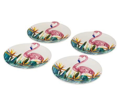 Zestaw 4 talerzy płaskich Flamingo