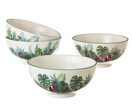 Set 4 zdjele Tropical Leaves 800 ml