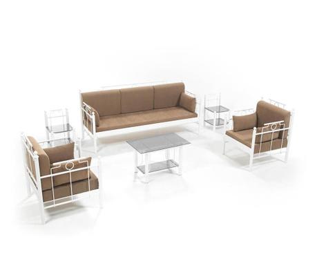 Set kauč trosjed i 2 fotelje za vanjski prostor Hatkus White Brown