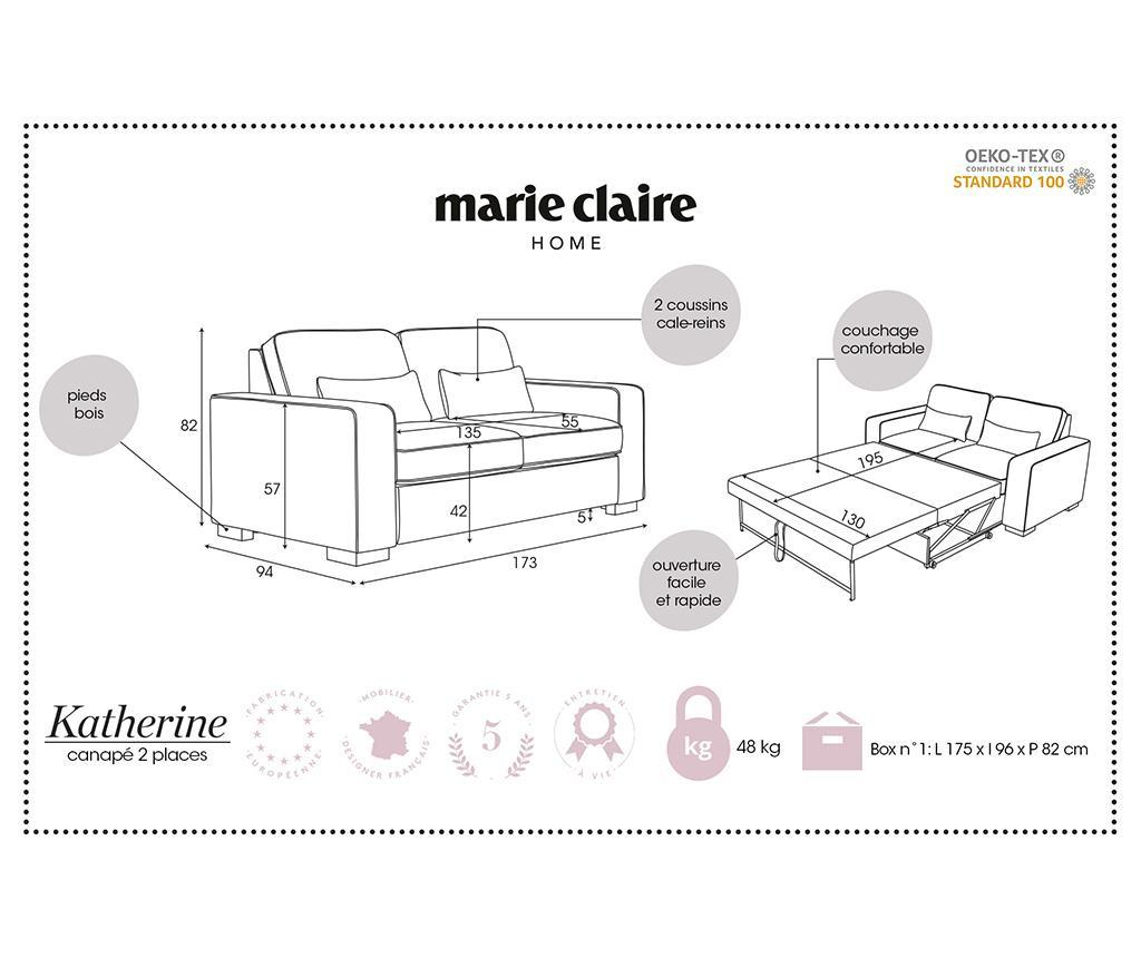 Katherine Anthracite Grey Kétszemélyes kihúzható  kanapé