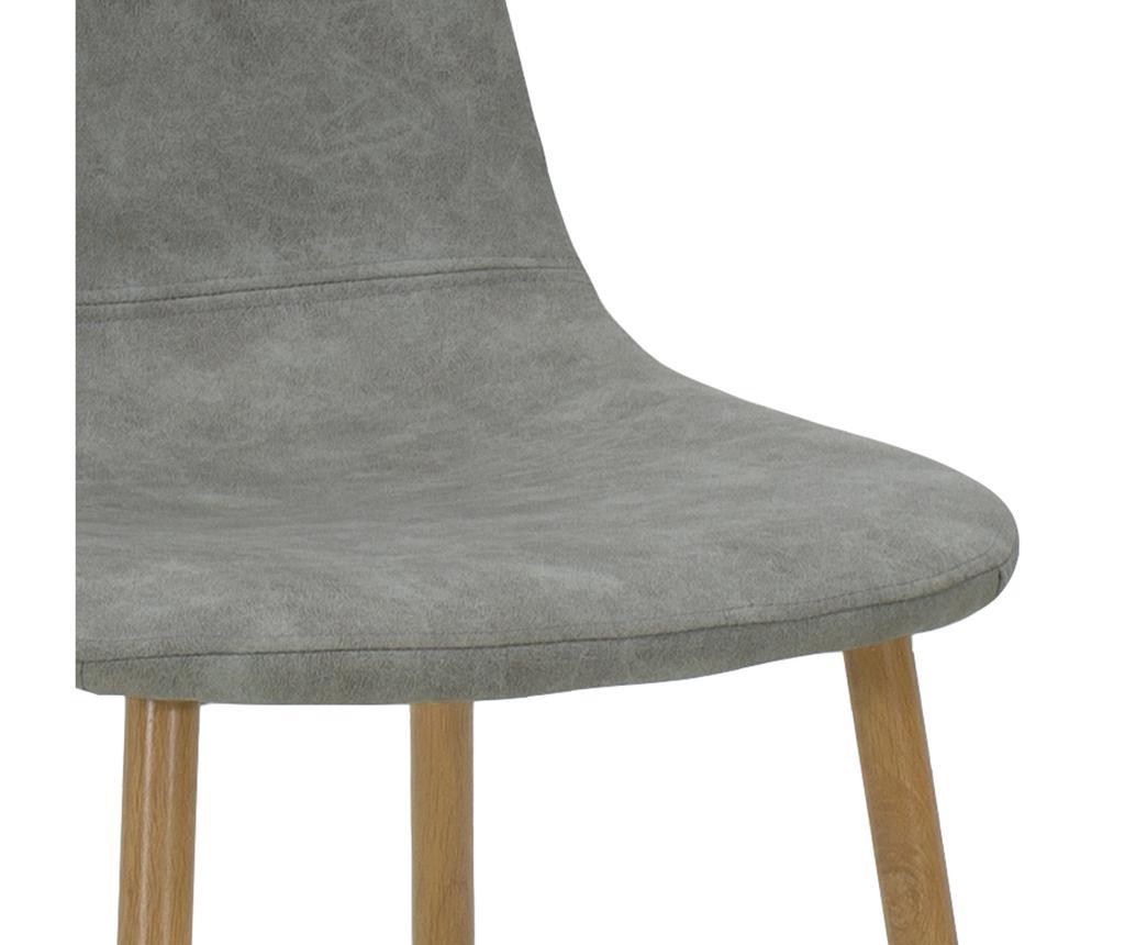 Stolica Bella Leather Grey Oak Legs