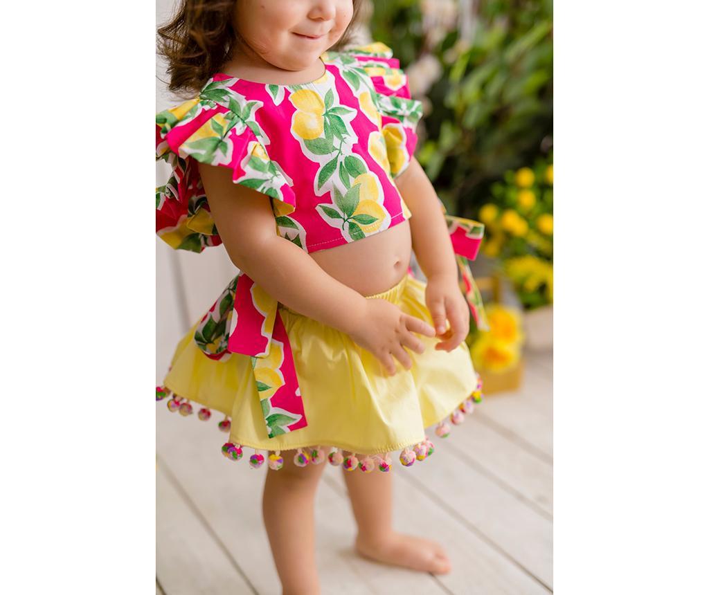 Otroški komplet - krilo in majica Lemonade Fuchsia 3 let