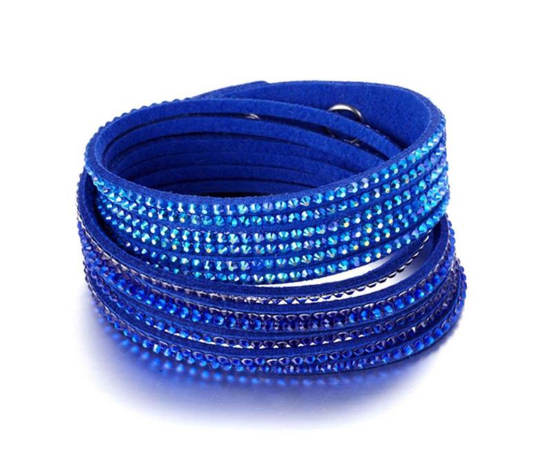 Bratara Swarovski Rows Three Blue