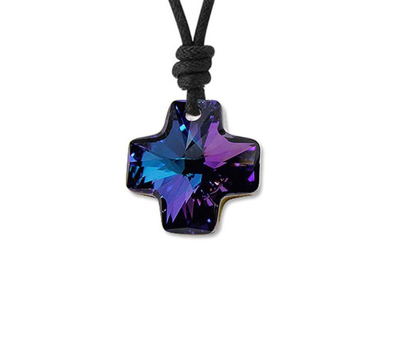 Colier snur cu pandantiv Swarovski Cross Blue Purple