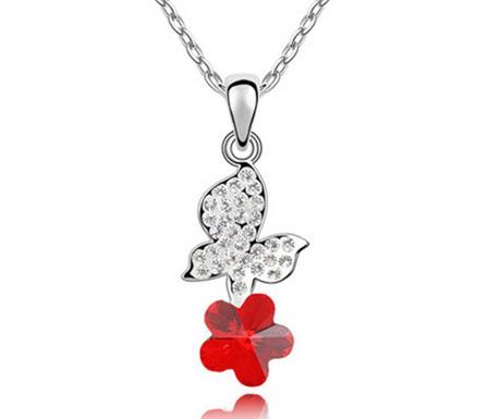 Ogrlica z obeskom Swarovski Butterfly Red