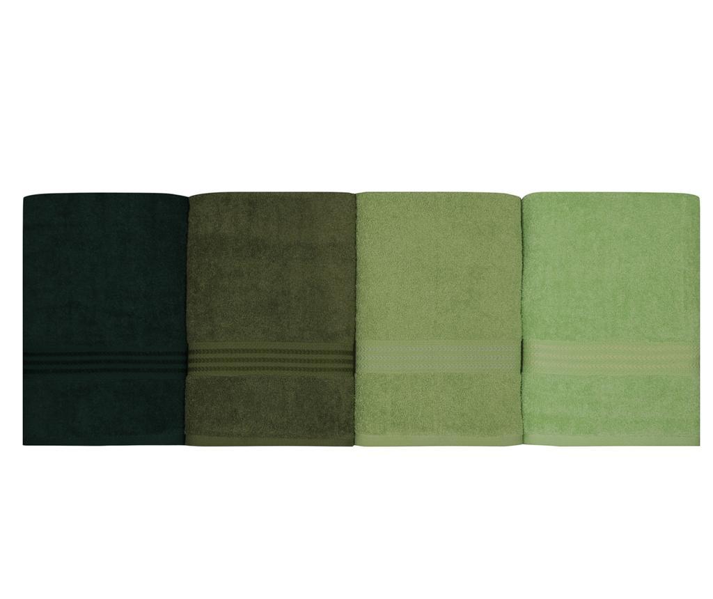 Set 4 prosoape de baie Shades Green 70x140 cm