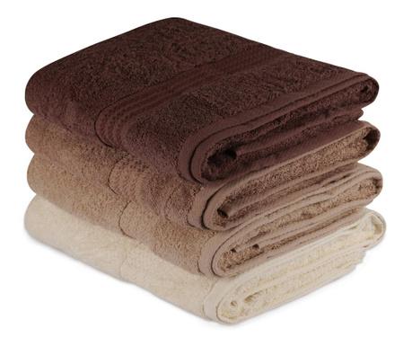 Sada 4 ručníků Rainbow Brown 70x140 cm